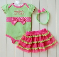 New design fashion baby girls cotton short sleeve letter bow rompers +tutu skirt +handwear 3pcs set summer baby casual clothing