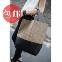 2013 crocodile pattern patchwork boa vintage bag fashion messenger bag big bags women's handbag