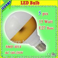 5 pcs/lot free shipping e27 screw led bulbs 15w golden home goods led lights cool white 6000k ac 220v illuminated led