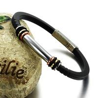 OPK JEWELRY Clearance Sale! Genuine Silicone Bracelet & Bangle Attractive Men Jewelry Unique Button Design Factory Price