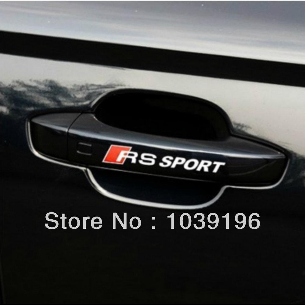 4 x Car Handle Door Handle Stickers Car Stickers For Audi RS Sports A1 A3 A4 A5 A6 A7 A8 S8 Q3 Q5 Q7(China (Mainland))
