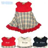 Retail Girls plaid dress Children's brand summer dresses Baby kids fashion Sleeveless dress Lovely princess dress Free shipping