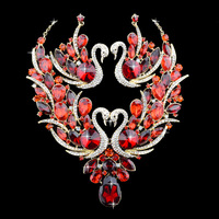 Wholesale Weshow Brand Red Crystal Prideful Swan Chinese Traditional Wedding Necklace And Earrings Jewelry Sets For Brides