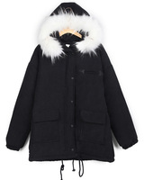 Autumn and winter wadded jacket female medium-long wool collar thickening cotton-padded jacket HARAJUKU outerwear