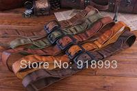 Korean version of the influx of men and men's belt wide belt buckle leather belt bare retro casual fold belt body
