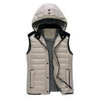 13 autumn and winter detachable cap high quality down cotton male cotton vest j808-p120 grey  free shipping