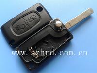 1 pcs peugeot 307 2 button remote key case with battery no logo