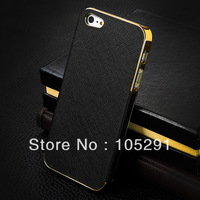 For iphone 5 Luxury Chrome pu Leather Case Cover for iPhone5 5s 5g plating side case 1000Pcs/lot Free shipping