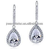 Wholesale Bridal 2 Carat Pear Cut Created CZ Diamond Dangle Drop Sterling 925 Silver Bridal Wedding Earrings Jewelry CFE8066