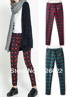 2013 Fashion Women's Contrast color Plaid pattern Mid Waist Zipper Pocket Pencil Pants Ladies Slim fit Trousers Free Shipping