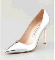 Free shipping High quality Genuine leather high-heeled silver shine MB pumps