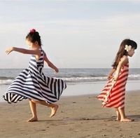 Free Shipping 2014 Summer Children's Girl Clothing Wholesale Girls Dress Baby Leisure Casual Striped Beach Princess  Dress Gift