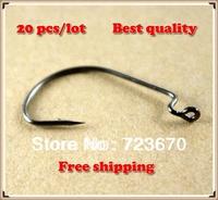 Promotion! 20 pcs/lot  Offset Shank Wide Gap Crank Fishing Hooks J hook free shipping
