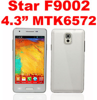 Free shipping Star F9002 Mini Note 3 phone Dual core  Android 4.2 MTK6572 1.3Ghz 4.3Inch Wcdma GPS 3G smartphone 512M+4G