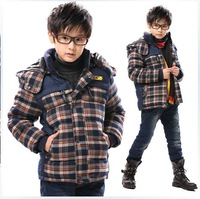 Child winter outerwear child plaid wadded jacket male child thickening liner cotton-padded jacket casual winter cotton-padded