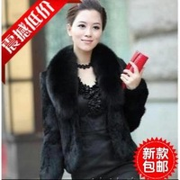 2013 rex rabbit hair fur coat short design women's fox fur patchwork large fur collar