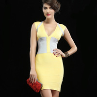 2013 New Arrival Women's elegant deep V-neck sleeveless patchwork slim waist bandage evening dresses, Free Shipping