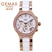 Free shipping Gemax ceramic diamond ring  fashion personality ladies   women watch
