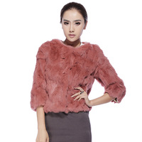 2013 rabbit fur coat short design female rex rabbit hair fur coat slim o-neck