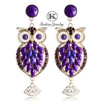Owl earring 2014 Fashion  Retro Woman Gold-plated silver Crystal Women  jewelry  Pendant  Earrings Free Shipping  TE-971