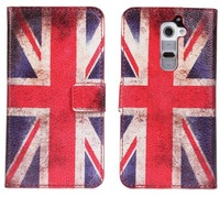 Case For LG Optimus G2 Stylish Flip Book UK USA Flag Wallet Pouch PU Leather With Stand Cover Free Shipping