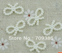 100pcs/lot 10*18MM White Bow Pearl Bead 3D Cellphone Craft DIY Design Decoration Accessory