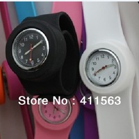 free shipping 100pcs/lot adult slap watch High Quality silicone shiny face slap silicone watch each with one opp bag package