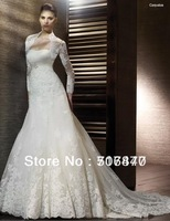 Free Jacket 2014 New Style White/Ivory A-Line Tulle Applique Beading Long Bridal Gown Wedding Dresses Custom Size Free Shipping