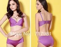Seamless one-piece adjustable bra underwear gather small chest deep V sexy bra set womens