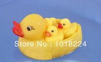 Free shipping 2014 new baby toy Cute1 Mother Duck & 3 yellow Ducks Sounding Swimming Animals Toys gifts for babies Kids Children