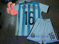 A+++ Thailand Argentina 16# Kun Aguero Kit Shirt And Short Embroidery Brand Logo Fan Version 2014 Soccer Jersey Futbol Camisetas