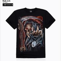 Sale Novelty 3D t Shirt Men Skull Rock Roupas Camisetas Masculina Cotton tshirt Mens Casual Clothing Ropa Hombre 2014 New Brand