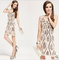 Fashion 2013 Women's Sexy Phoenix Paillette Dresses Slim Fit Beige Sequin Embroidery Party Dress NightClub Wear Sparkling
