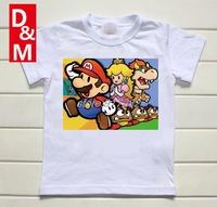 wholesale Cotton short sleeve children t shirts, cute cartoon t-shirt,super mario game boys girls t-shirt figure kids wear 2014