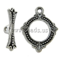 Free shipping!!!Zinc Alloy Toggle Clasp,Factory Price, Donut, antique silver color plated, single-strand, nickel