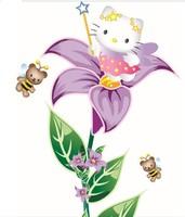 Free shipping AY751 Kids Hello Kitty Flower Cartoon PVC Home sticker Wall Decal ,Wall Sticker