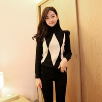 2014 warm women's rhombus pattern dimond plaid sweater turtleneck sweater
