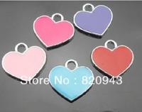 wholesale 50pcs/lot approximately 16*16mm Mix Color Heart Hang Pendant Charm stuff: Zinc alloy fit necklace cell phone charms