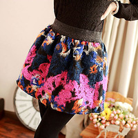 Free Shipping New 2014 Women Korean Style Fashion Spring Autumn Flower Print Tutu Skirts, Ladies Ball Gown Skater Skirts 7676