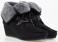 Export brand!women's velvet wedges suede ankle boots,female warm sweet shoes,black brown