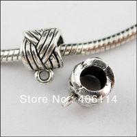 100Pcs Tibetan Silver 6mm Hole Tube Charms Bail Beads Fit Bracelets 8x11.5mm