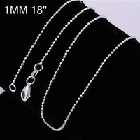 C004 Factory Price Silver Plated Box Necklace 18INCH Chain Fashion Jewelry Chains Free Shipping