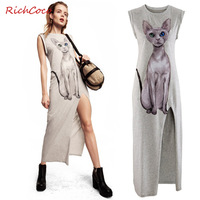 Fashion richcoco normic cat print side vent roll up sleeve irregular hem o-neck d117 one-piece dress