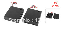 2 Pcs 4 x AA 6V Batteries Battery Holder Case Box Wired ON/OFF Switch w Cover