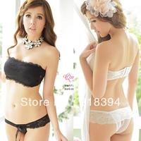 2013 New arrival Sexy Women strapless lace underwear bra set Thin cup  women's bra&briefs set, free shipping