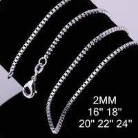HOT !!! 2MM Lobster clasp Box chain wholesale jewelry sterling silver fashion chains necklace jewelry (Free shipping) /C009