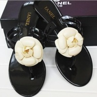 Free Shipping 2014 Camellia Slippers Fashion Brand Summer Sandals For Women Flip Flop Jelly Shoes Flat Sandals Shoes Size 36-40