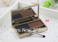 Waterproof Women Professional 2 colour EYEBROW Powder/Shadow Palette/Cake/Kit Black/Brown With Brush Free Shipping TL-137