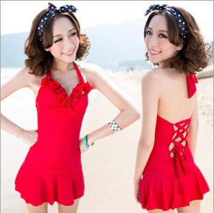 2013 Fashion Womens Swimsuit ladies Swimwear Girl falbala Bikini Sexy One Piece swim dress for Women(China (Mainland))