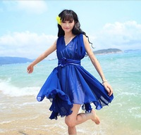 Women Fashion Beach Casual Chiffon Dress 2014 Spring Summer Fashion Blouse Club Evening Elegant Party Dresses Woman Cute